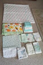Vintage baby bassinet sheets, blankets, changing pads lot of 15 mixed lot