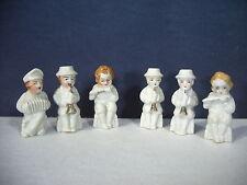 Musician Figurines Set of 6 Small Miniature White Vintage Japan Accordian Flute