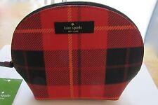 kate spade Keri newbury lane printed make-up/cosmetic bag- plaid red black