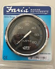 Boat Gauge GPS Speedometer Marine Faria Chesapeake SS Black 60mph USA