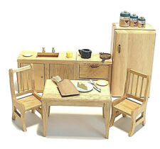 1:12 Miniatures Dollhouse 6 Pc Wood,Kitchen, Fridge, Stove, Sink, Table, Chairs