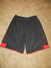 MEN'S ATHLETIC SHORTS, REEBOK BASKETBALL, SIZE LARGE, BLACK AND RED MESH