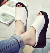Womens High Platform Slippers Wedge Heels Leather Sandals OpenToe Shoes HOT US 8