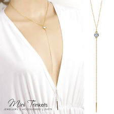 Gold Crystal Women's Bar Drop Cleavage Fashion Statement Simple Lariat Necklace