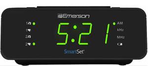 "Emerson SmartSet Digital Alarm Clock Radio w/AM/FM,0.9"" LED Large Display,Snooze"