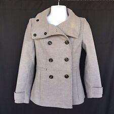 H&M Sz 6 EU 36 Gray Wool Peacoat Pea Coat Winter Jacket Fashion Double Breasted