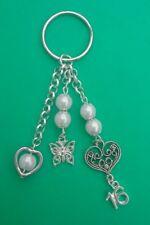 16th Birthday Tibetan Handbag Charm with White Beads, Hearts & Butterfly - Gift.
