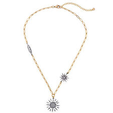 Topping Starburst Pendant Necklace Crystal Pave Antique Silver Snowflake Jewelry