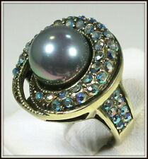 """HEIDI DAUS """"SPARKLING TRADITIONS"""" ROUND RING - SIZE 7 - GRAY"""