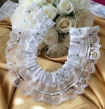 WEDDING HORSESHOE WHITE SATIN AND WHITE LACE bridal shower butterflies diamantes