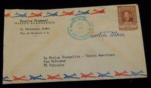 Vintage Cover,HONDURAS COVER, Evangelica Mission, To El Salvador,1951,Back Stamp