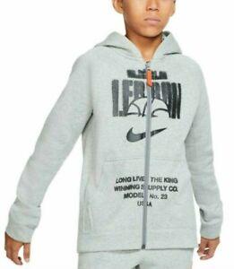 Nike Big Boys Gray LeBron Graphic Print Fleece Full Zip Hoodie