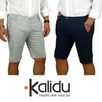 Bermuda Chino Uomo Pantalone Corto Shorts Basic Casual Tinta Unita Blu Grigio