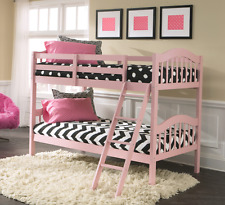 Bunk Beds for Girls Kids Wood Pink Twin Size Bedroom Furniture Child Princess