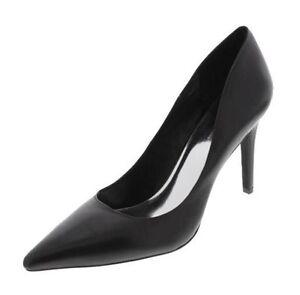 New INC Women Black Leather High Heel Slip On Dress Pointy Toe Pump Shoe Sz 7 M