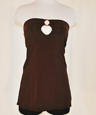 Vtg 90s S BoHo Hippie Chic Ruched Peek a Boo Wood Accent Brown Strapless Top