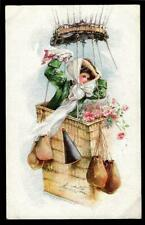 1¢ WONDER'S ~ ARTIST SIGNED POSTCARD W/ FANCY LADY IN HOT AIR BALLOON ~ V419