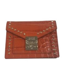 MCM NWT NEW Ruby Red Croc Embossed And Studded Mini Card Wallet