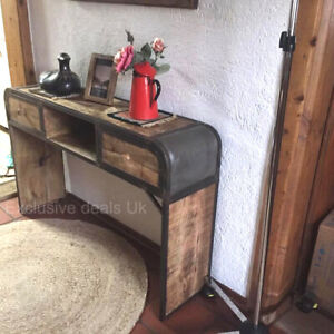 Rustic Industrial Console Table Sideboard Hall Hallway Furniture Vintage Style