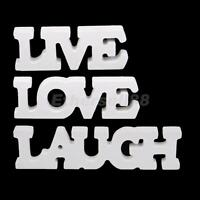 SMALL WHITE WOODEN LIVE LAUGH LOVE WORDS SIGN PLAQUE WEDDING HOME DECOR/GIFT