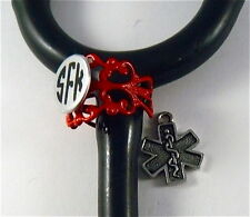 STETHOSCOPE ID TAG RING CUFF  RED LACE CHARM, STAR OF LIFE CHARN, EMT,DR,VET.ER,
