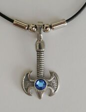 Choker #1398 CURVED MEDIEVAL AXE made with Swarovski BLUE stone (48mm x 24mm)