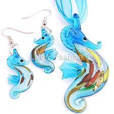 Silver Aqua Sea Horse Lampwork Glass Murano Bead Pendant Necklace Earrings Set
