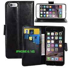 BLACK Wallets Leather Case Cover with Card Slots for iPhone 6/6S UK FREE POST