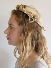 Vintage true 1930s cream hat flowers hat pin good