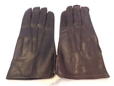 New Designer Men's Brown Leather Dress Gloves Unlined Size Large
