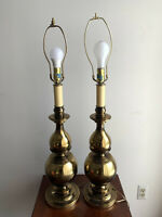 2 Vintage Westwood Industries Mid Century Brass Table Lamps - Pair - 3 Way Bulb