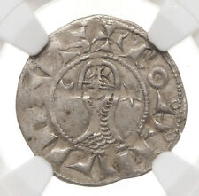 CRUSADERS, Antioch. Bohemond III, 1163-1201, Silver Denier, NGC VF35