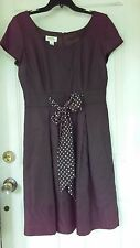 Talbots Womens Size 10 Retro Dress Brown Polka Dot Bow Career