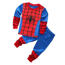 Kids Boys Girls Superhero Sleepwear Baby Pajama Nightwear Pj's Pyjamas Outfits