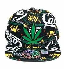 Marijuana Leaf California Snapback Hat Baseball Cap Flat Bill Green Bear Dad Hat