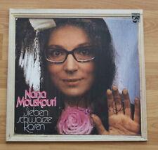 """ORIGINAL Autogramm von Nana Mouskouri. Auf VINYL 12"""". """"SIEBEN SCHWARZE ROSEN"""""""