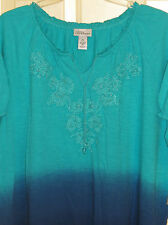 WOMENS LIZ & ME CATHERINES TOP PLUS 2X NWT BLUE OMBRE SHADES BEADING 22 24 S/S