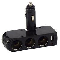 3 Way 12v USB Double Cigarette Lighter Adapter Power Socket Car Charger Splitter