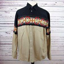 Black Vintage Wrangler Rustler Native Aztec Tribal Symbol Pattern Shirt Men's XL
