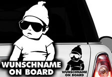2x Aufkleber WUNSCHNAME ON BOARD Sticker Hangover Baby Auto Kind fährt mit FUNo