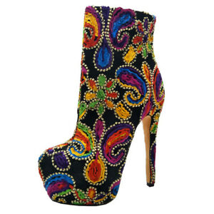 Womens High Heels Platform Shoes Ladies Pull On Vintage Ankle Multi-color Boots