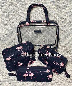 NWT Vera Bradley Flirty Flamingos 4 Piece Cosmetic Organizer Set, NEW