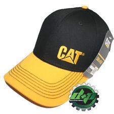 CAT logo Caterpiller Black Trucker hat yellow bill truck diesel gear cap