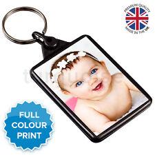 Personalised Custom Photo Gift Keyring Key Fob 50 x 35 mm | Graphite Grey