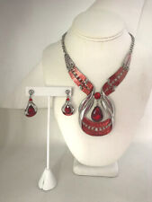 Chunky Ruby Red Crystal Teardrop Silver Necklace and Pierced Earrings Set