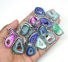 Exclusive !! 50 PCs Multi Geode Druzy .925 Silver Plated Gemstone Rings Lot.