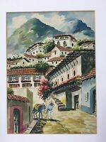 Vintage Mexican Matted Watercolor Painting