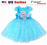2018 NEW girls Frozen Queen Elsa Princess Anna blue Party Dress  K77