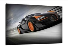 Bugatti Veyron 30x20 Inch Canvas Art - Framed Picture Poster Print Wall Art