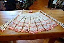 VINTAGE CROCHET APRON & FLORET-Handmade-PEACHES & CREAM-Adult 1 Size